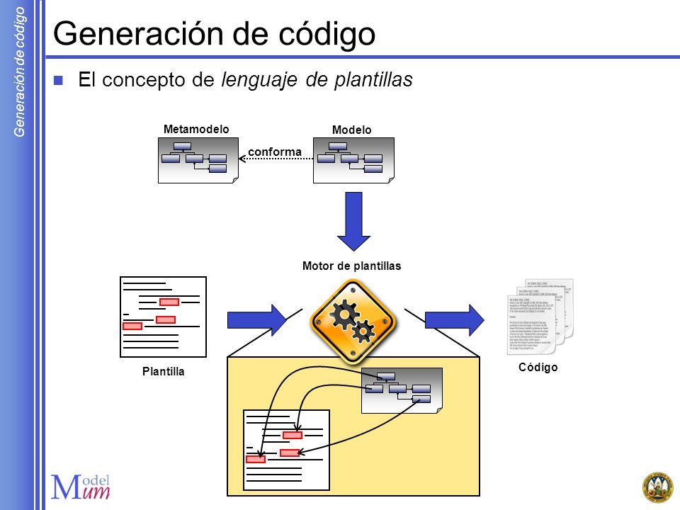 Generación de código El concepto de lenguaje de plantillas conforma
