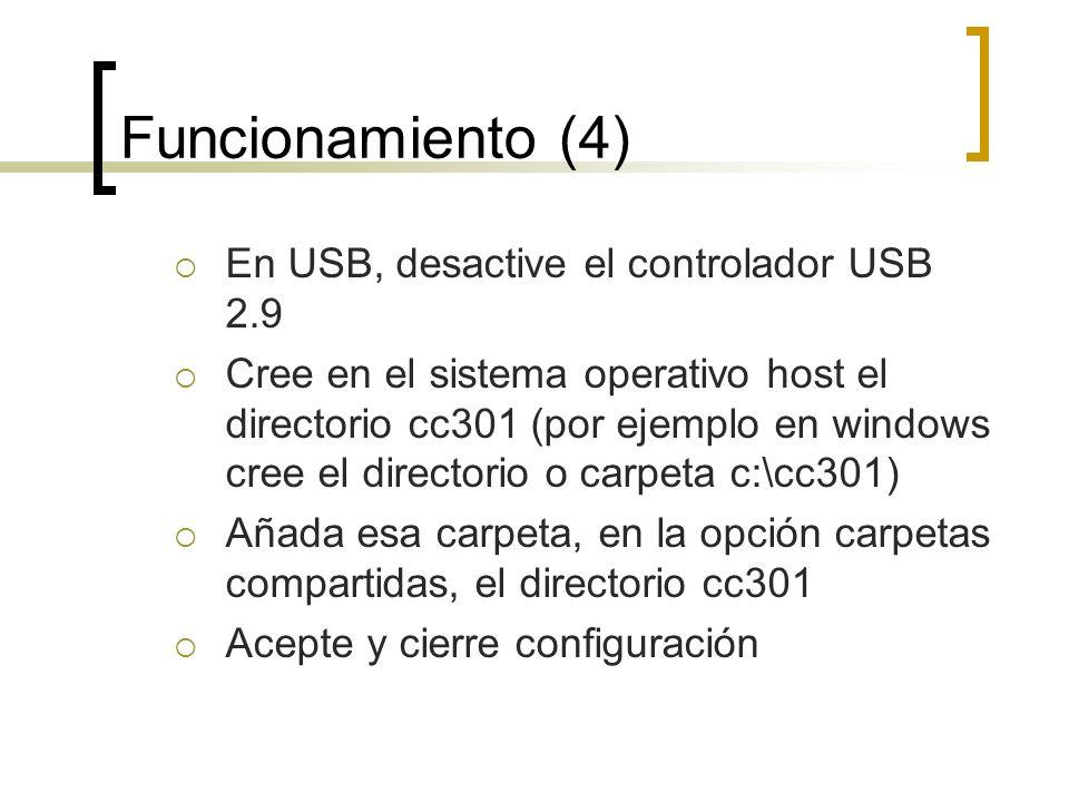 Funcionamiento (4) En USB, desactive el controlador USB 2.9