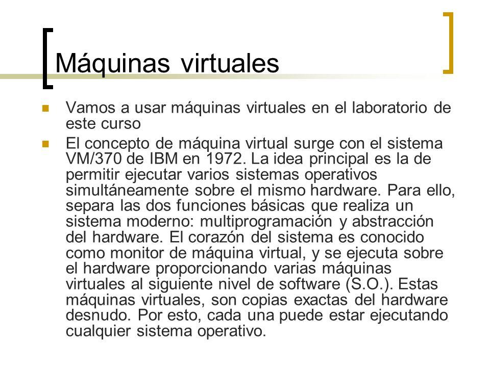 Máquinas virtualesVamos a usar máquinas virtuales en el laboratorio de este curso.