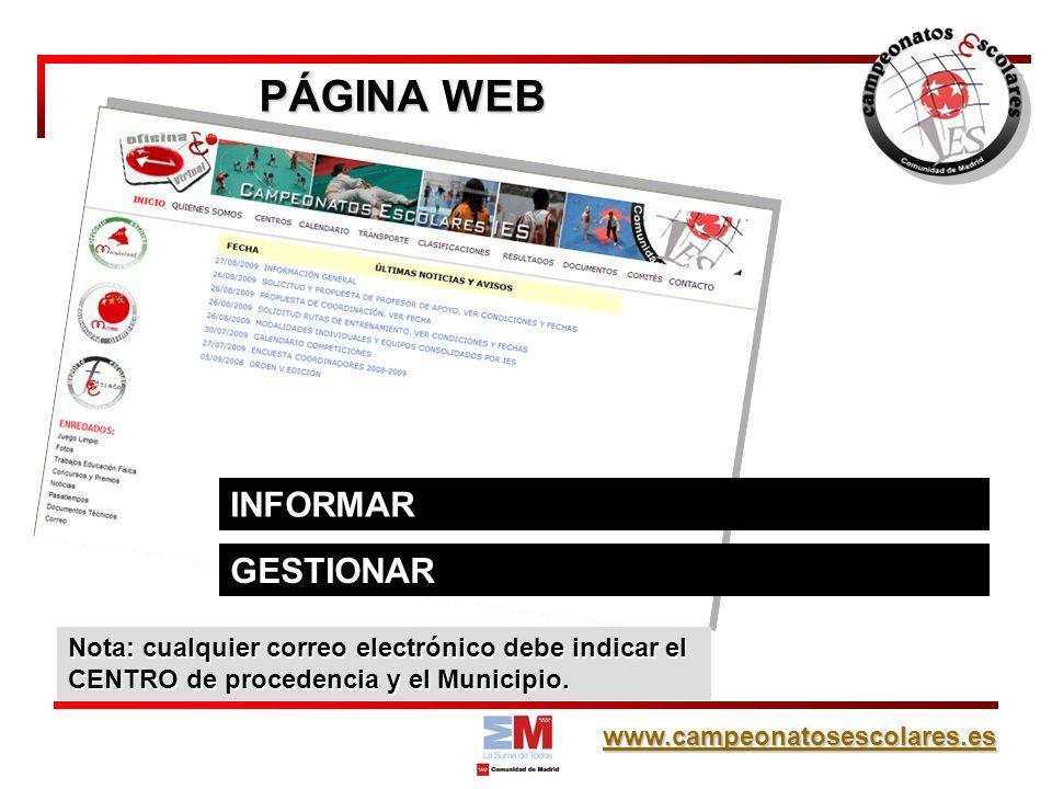 PÁGINA WEB INFORMAR GESTIONAR