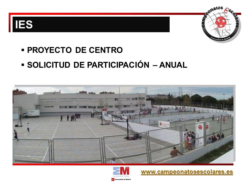 IES PROYECTO DE CENTRO SOLICITUD DE PARTICIPACIÓN – ANUAL
