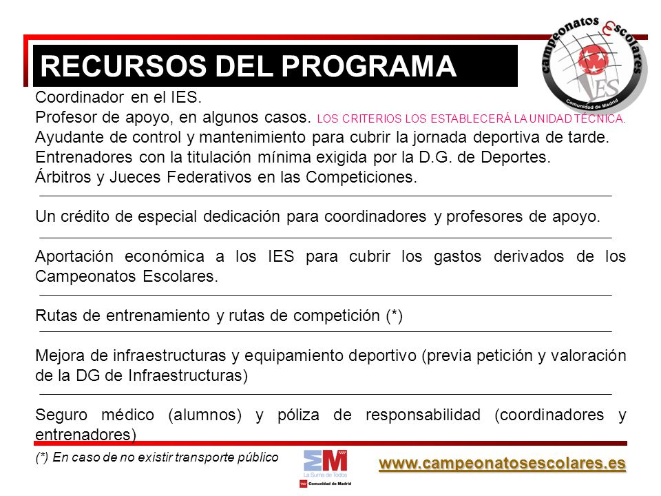 RECURSOS DEL PROGRAMA Coordinador en el IES.