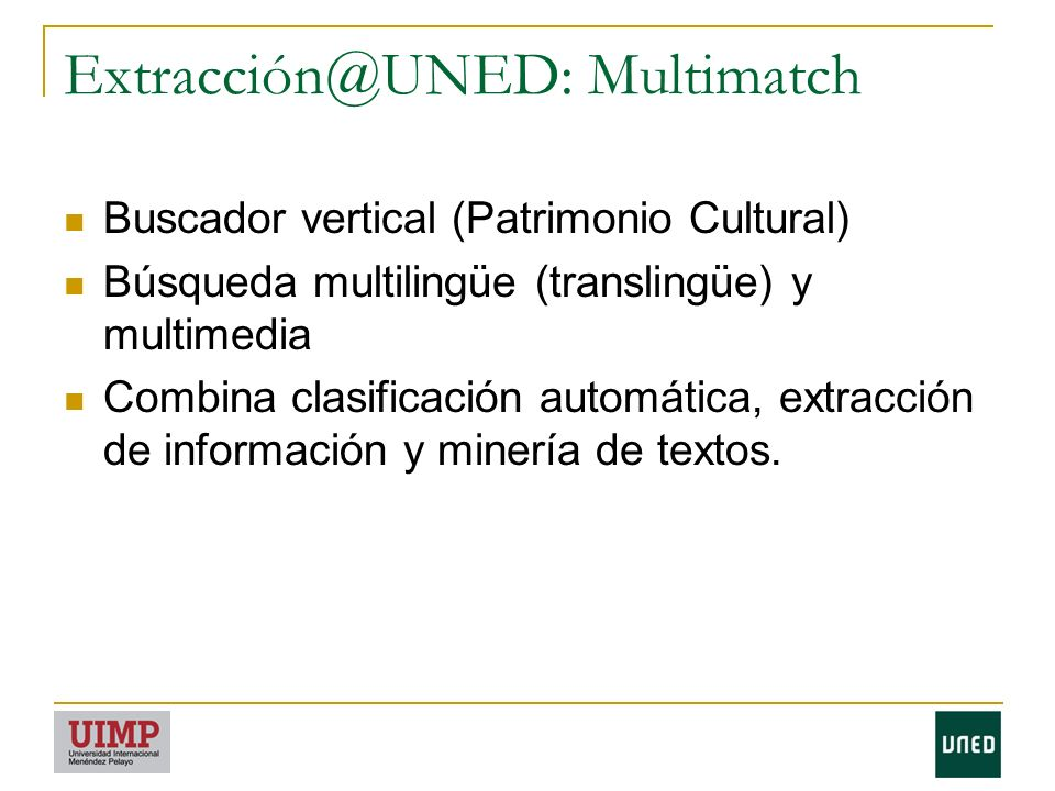 Extracción@UNED: Multimatch