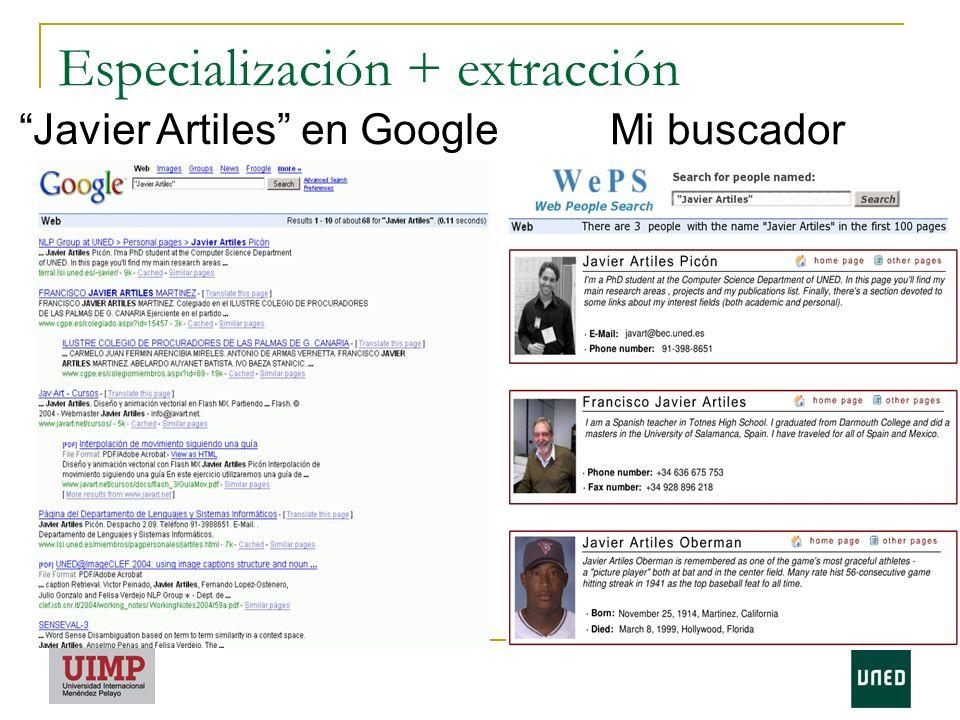 Especialización + extracción
