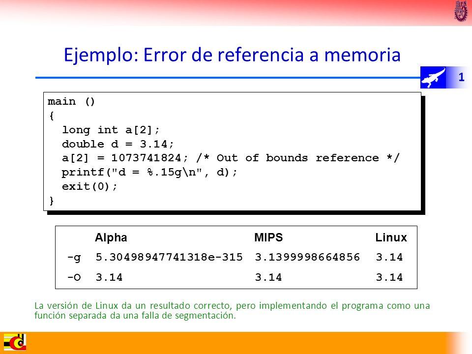 Ejemplo: Error de referencia a memoria
