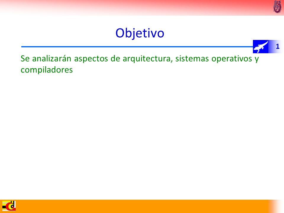 Objetivo Se analizarán aspectos de arquitectura, sistemas operativos y compiladores