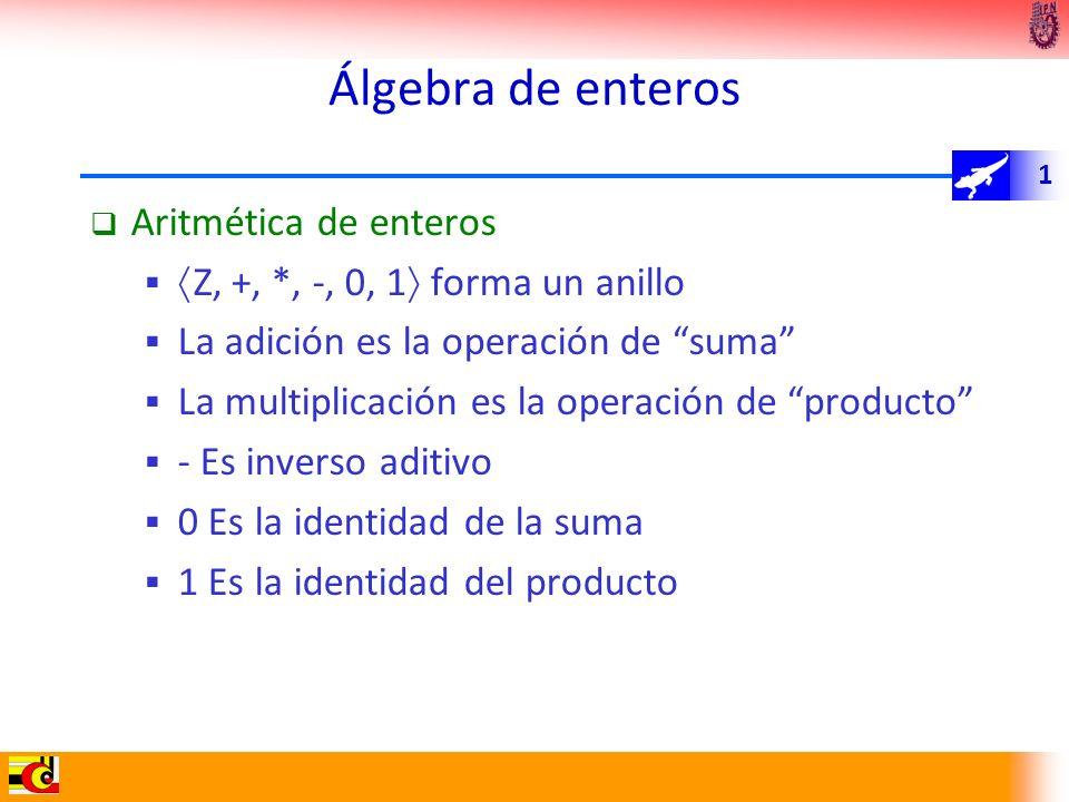Álgebra de enteros Aritmética de enteros
