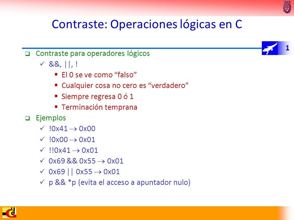 Contraste: Operaciones lógicas en C