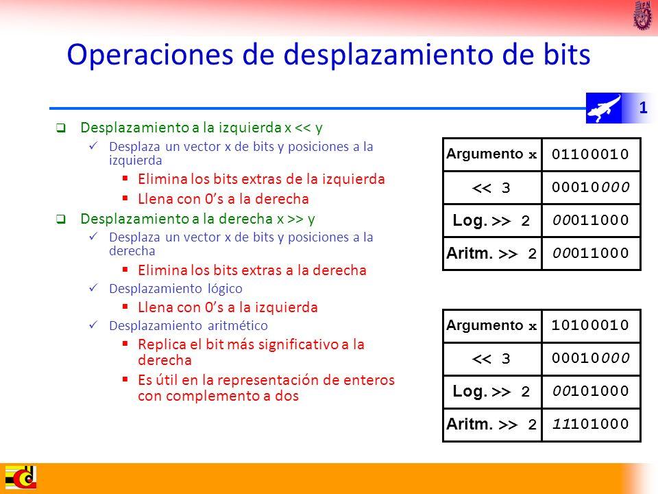 Operaciones de desplazamiento de bits