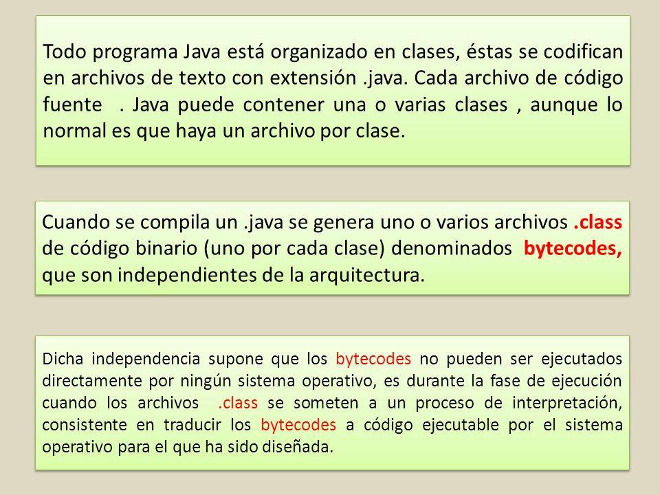 Todo programa Java está organizado en clases, éstas se codifican en archivos de texto con extensión .java. Cada archivo de código fuente . Java puede contener una o varias clases , aunque lo normal es que haya un archivo por clase.