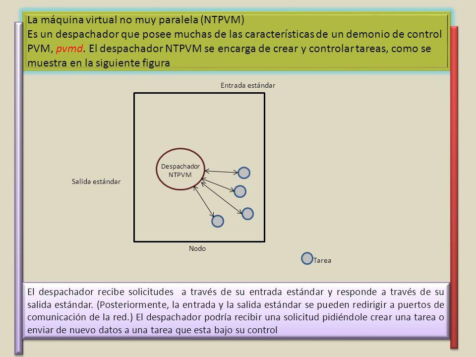 La máquina virtual no muy paralela (NTPVM) Es un despachador que posee muchas de las características de un demonio de control PVM, pvmd. El despachador NTPVM se encarga de crear y controlar tareas, como se muestra en la siguiente figura