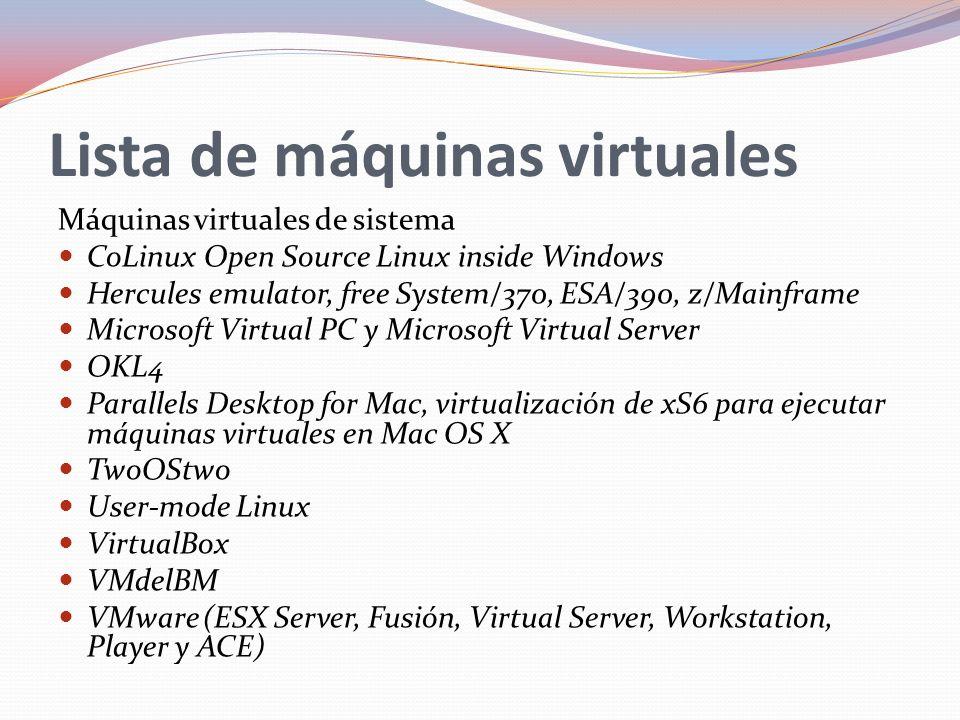 Lista de máquinas virtuales