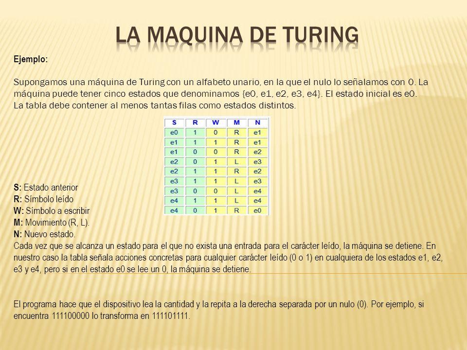 La maquina de Turing Ejemplo: