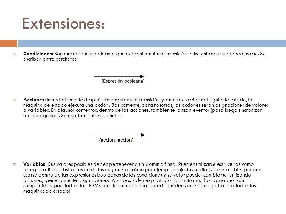 Extensiones: Condiciones: Son expresiones booleanas que determinan si una transición entre estados puede realizarse. Se escriben entre corchetes.