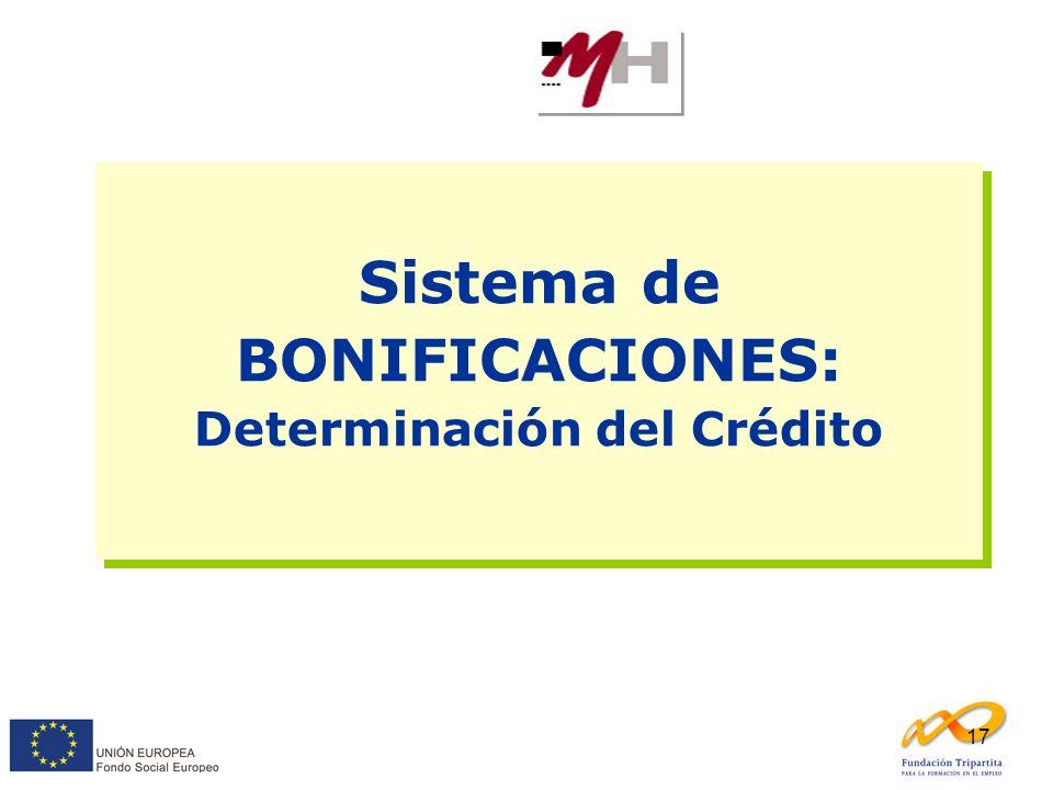 Sistema de BONIFICACIONES: Determinación del Crédito