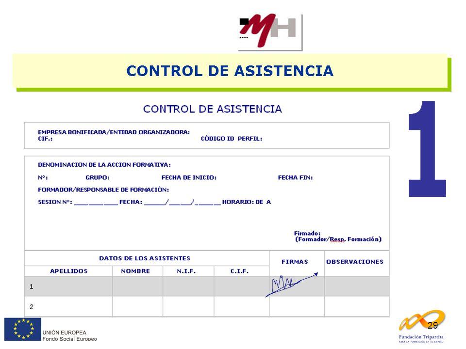 CONTROL DE ASISTENCIA 1 Con firmas DIARIAS. NO se firma P.O. o P.A.