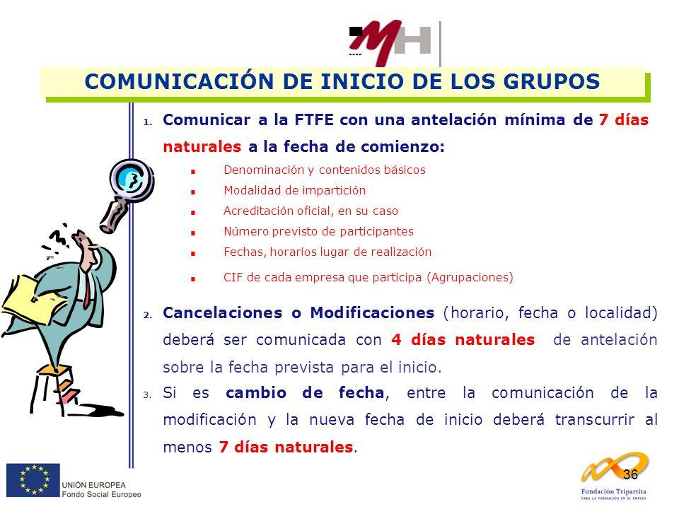 COMUNICACIÓN DE INICIO DE LOS GRUPOS