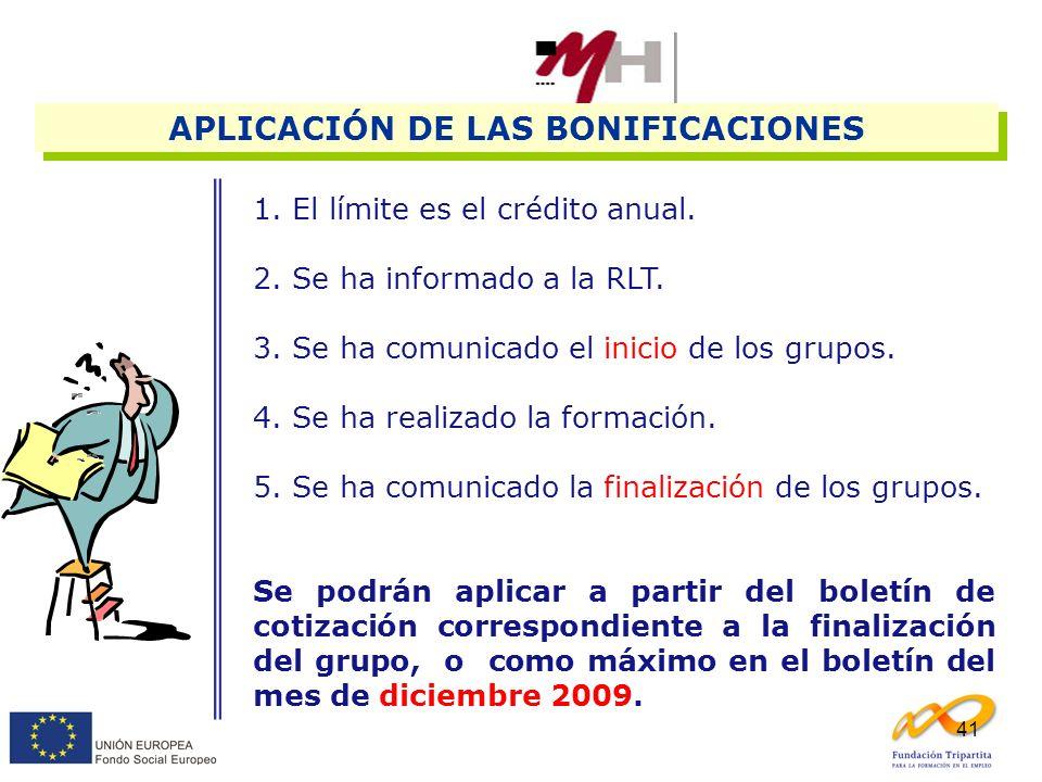 APLICACIÓN DE LAS BONIFICACIONES