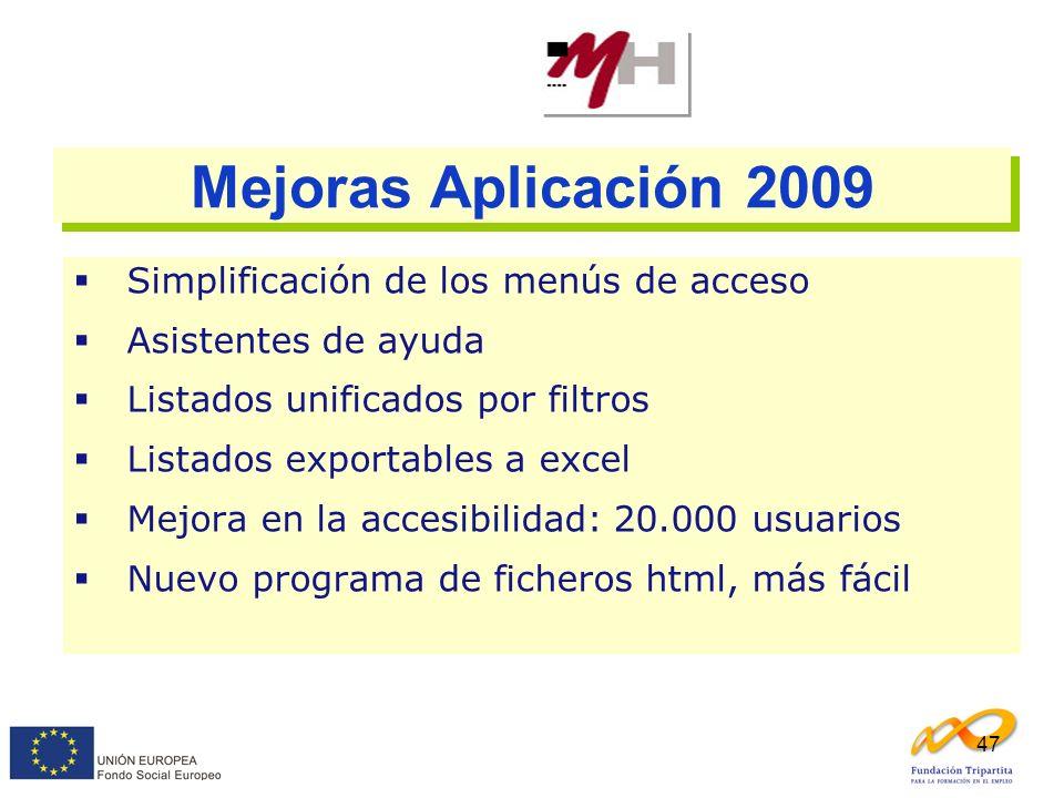 Mejoras Aplicación 2009 Simplificación de los menús de acceso