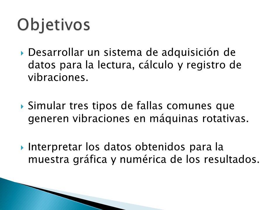 Objetivos Desarrollar un sistema de adquisición de datos para la lectura, cálculo y registro de vibraciones.