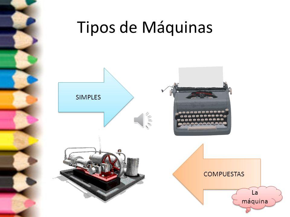 Tipos de Máquinas SIMPLES COMPUESTAS La máquina