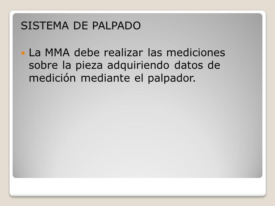 SISTEMA DE PALPADO La MMA debe realizar las mediciones sobre la pieza adquiriendo datos de medición mediante el palpador.