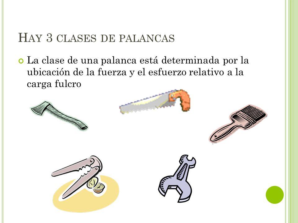 Hay 3 clases de palancas La clase de una palanca está determinada por la ubicación de la fuerza y el esfuerzo relativo a la carga fulcro.