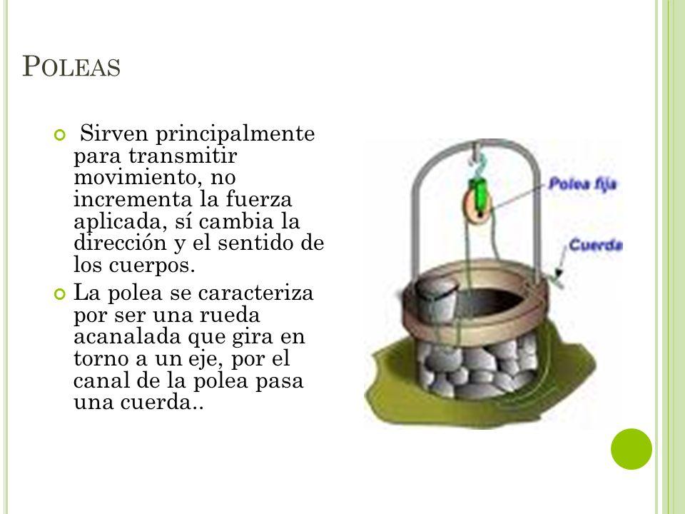 Poleas Sirven principalmente para transmitir movimiento, no incrementa la fuerza aplicada, sí cambia la dirección y el sentido de los cuerpos.