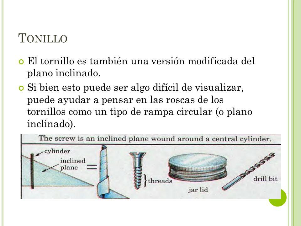 Tonillo El tornillo es también una versión modificada del plano inclinado.