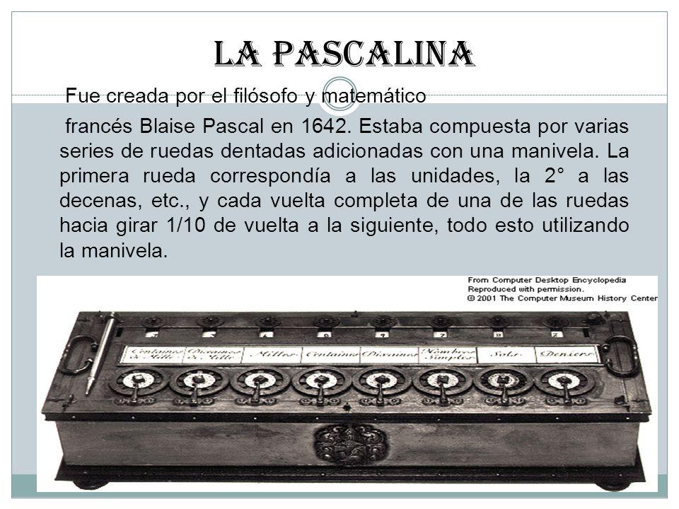 LA PASCALINa Fue creada por el filósofo y matemático