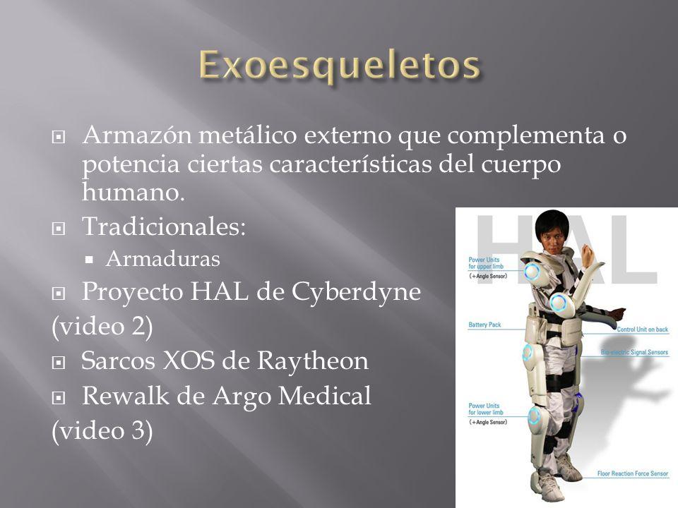 Exoesqueletos Armazón metálico externo que complementa o potencia ciertas características del cuerpo humano.