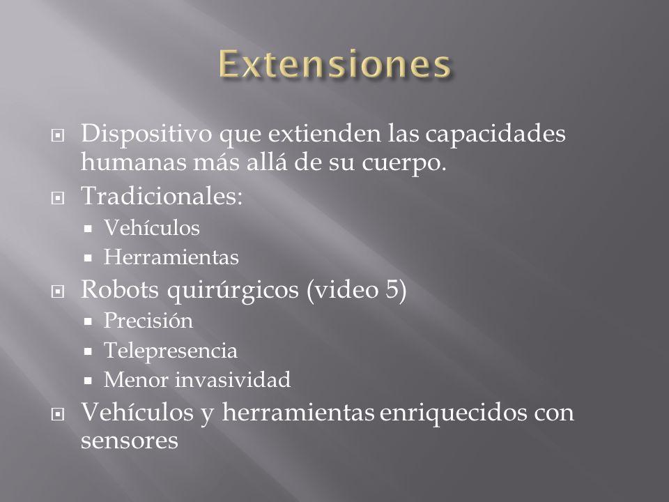 ExtensionesDispositivo que extienden las capacidades humanas más allá de su cuerpo. Tradicionales: Vehículos.