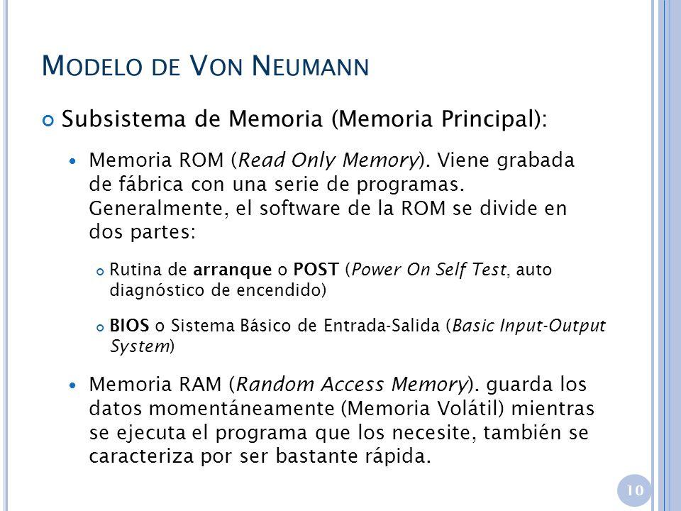 Modelo de Von Neumann Subsistema de Memoria (Memoria Principal):
