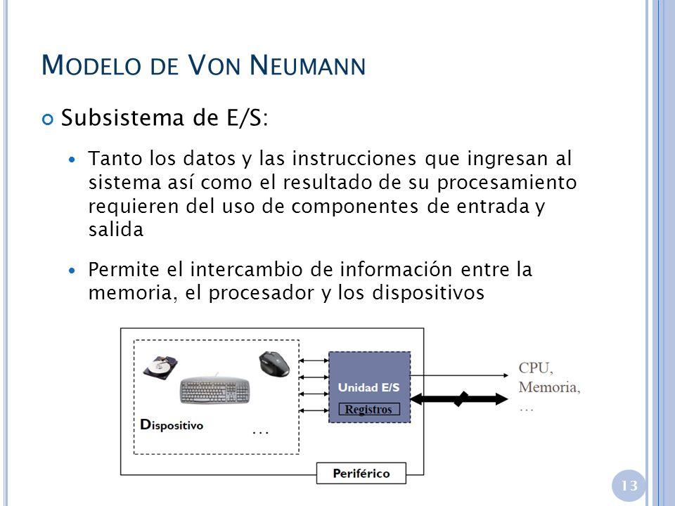 Modelo de Von Neumann Subsistema de E/S: