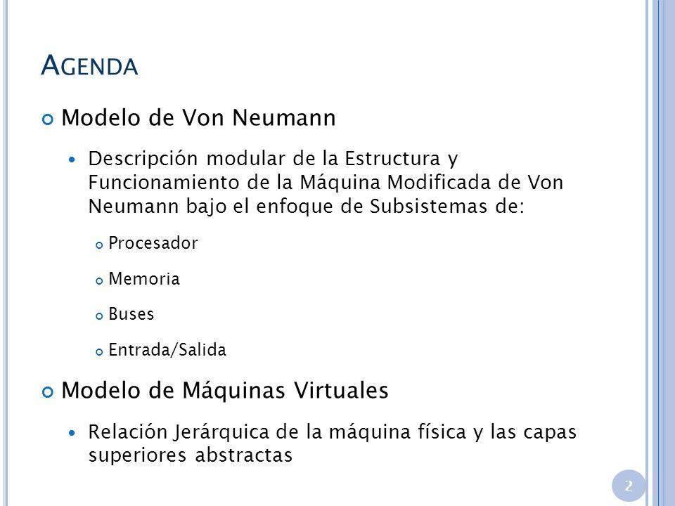 Agenda Modelo de Von Neumann Modelo de Máquinas Virtuales