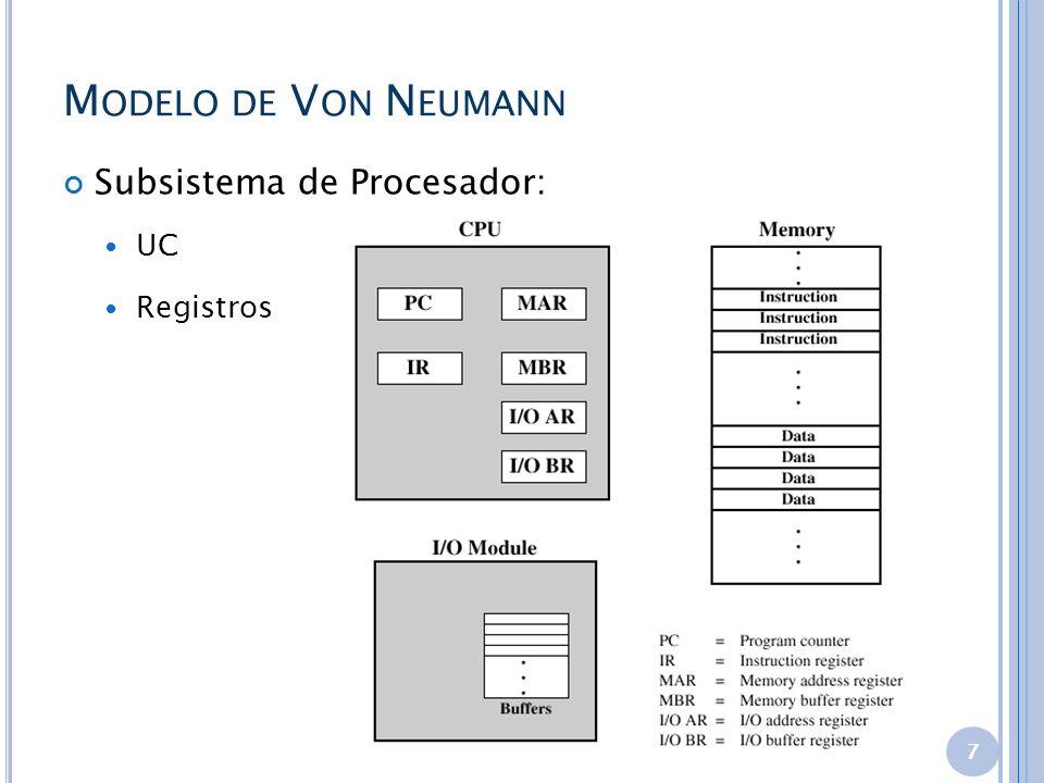 Modelo de Von Neumann Subsistema de Procesador: UC Registros