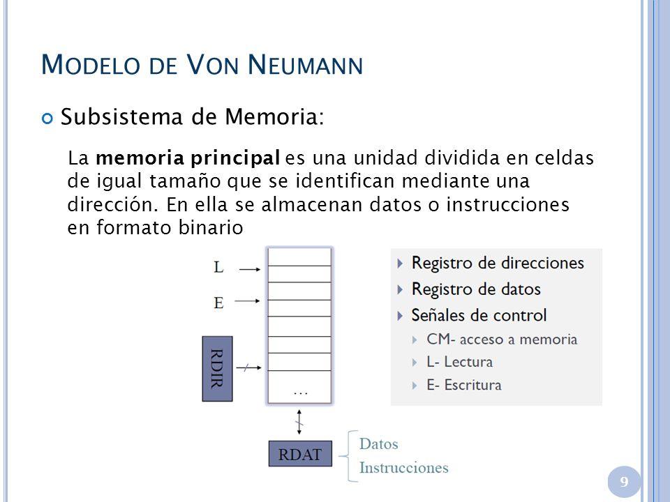 Modelo de Von Neumann Subsistema de Memoria: