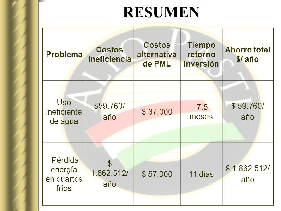 Costos alternativa de PML Tiempo retorno inversión