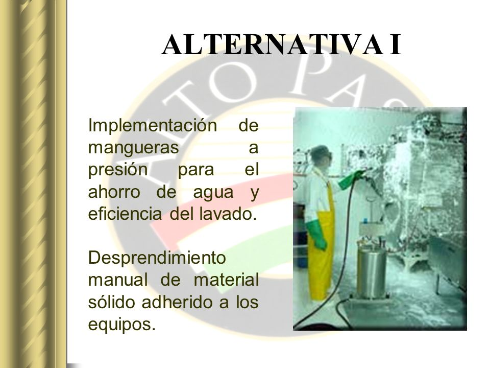 ALTERNATIVA I Implementación de mangueras a presión para el ahorro de agua y eficiencia del lavado.