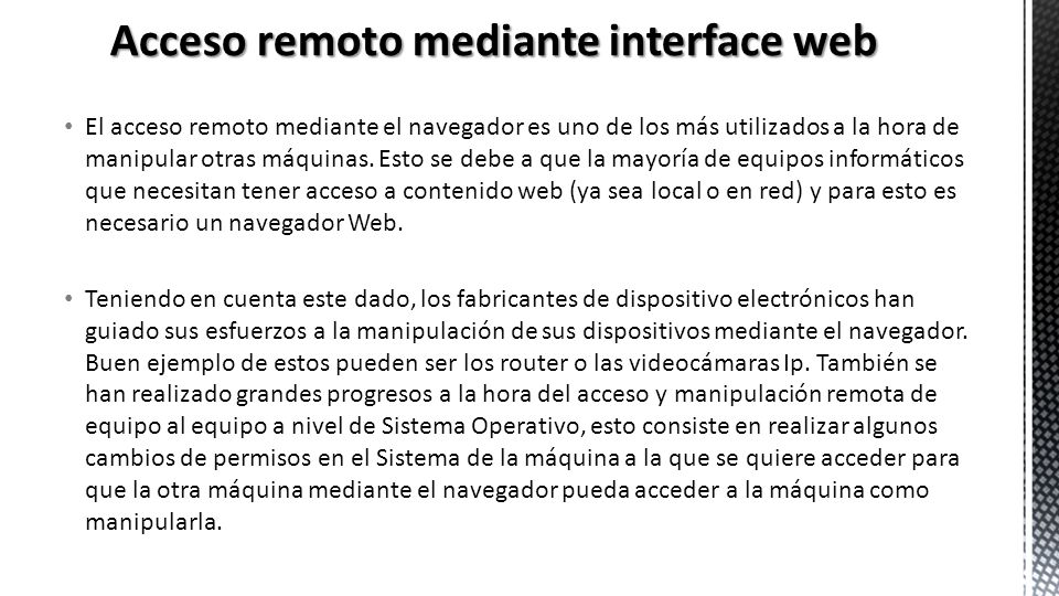 Acceso remoto mediante interface web