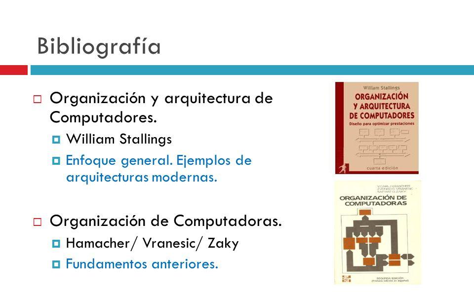 Bibliografía Organización y arquitectura de Computadores.