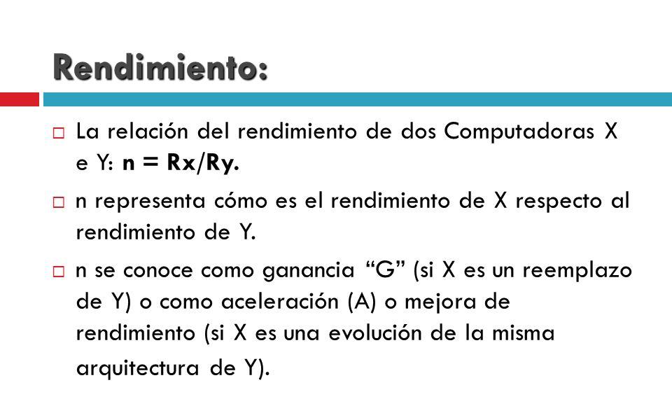Rendimiento: La relación del rendimiento de dos Computadoras X e Y: n = Rx/Ry.