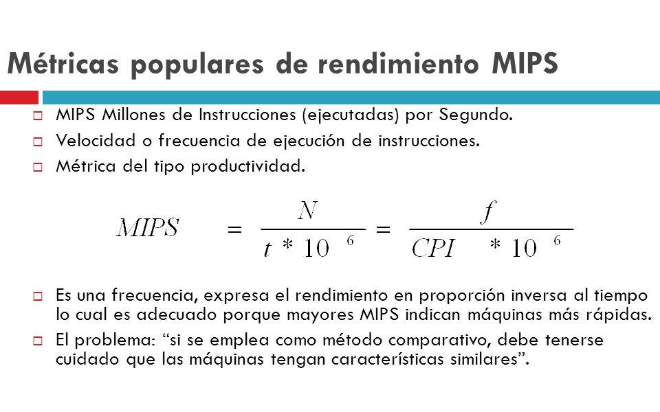 Métricas populares de rendimiento MIPS