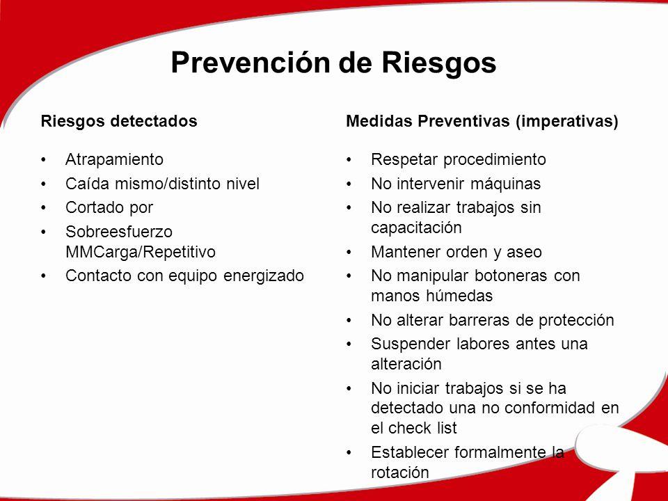Prevención de Riesgos Riesgos detectados
