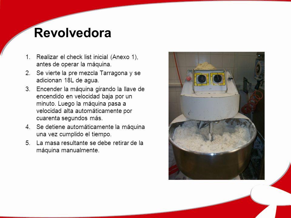 Revolvedora Realizar el check list inicial (Anexo 1), antes de operar la máquina. Se vierte la pre mezcla Tarragona y se adicionan 18L de agua.