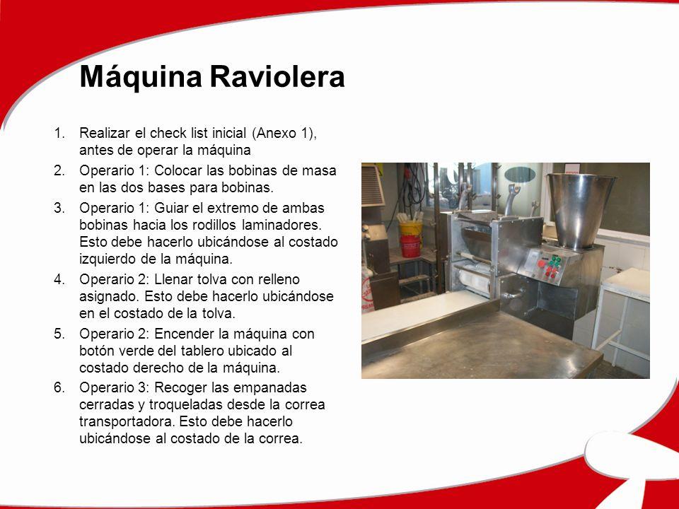 Máquina Raviolera Realizar el check list inicial (Anexo 1), antes de operar la máquina.