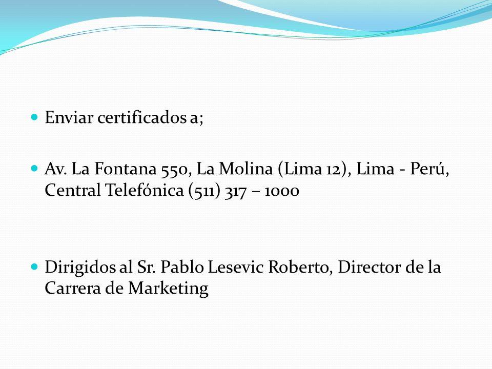 Enviar certificados a;