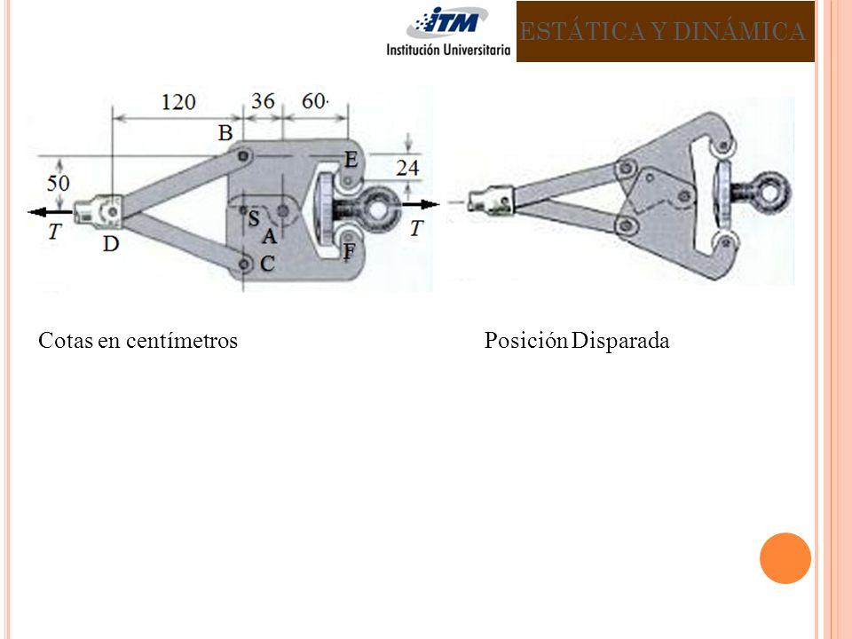 ESTÁTICA Y DINÁMICA Cotas en centímetros Posición Disparada.