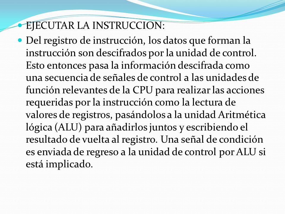 EJECUTAR LA INSTRUCCION: