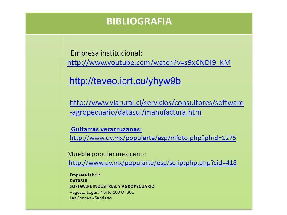 BIBLIOGRAFIA Empresa institucional: http://www.youtube.com/watch v=s9xCNDI9_KM. http://teveo.icrt.cu/yhyw9b.